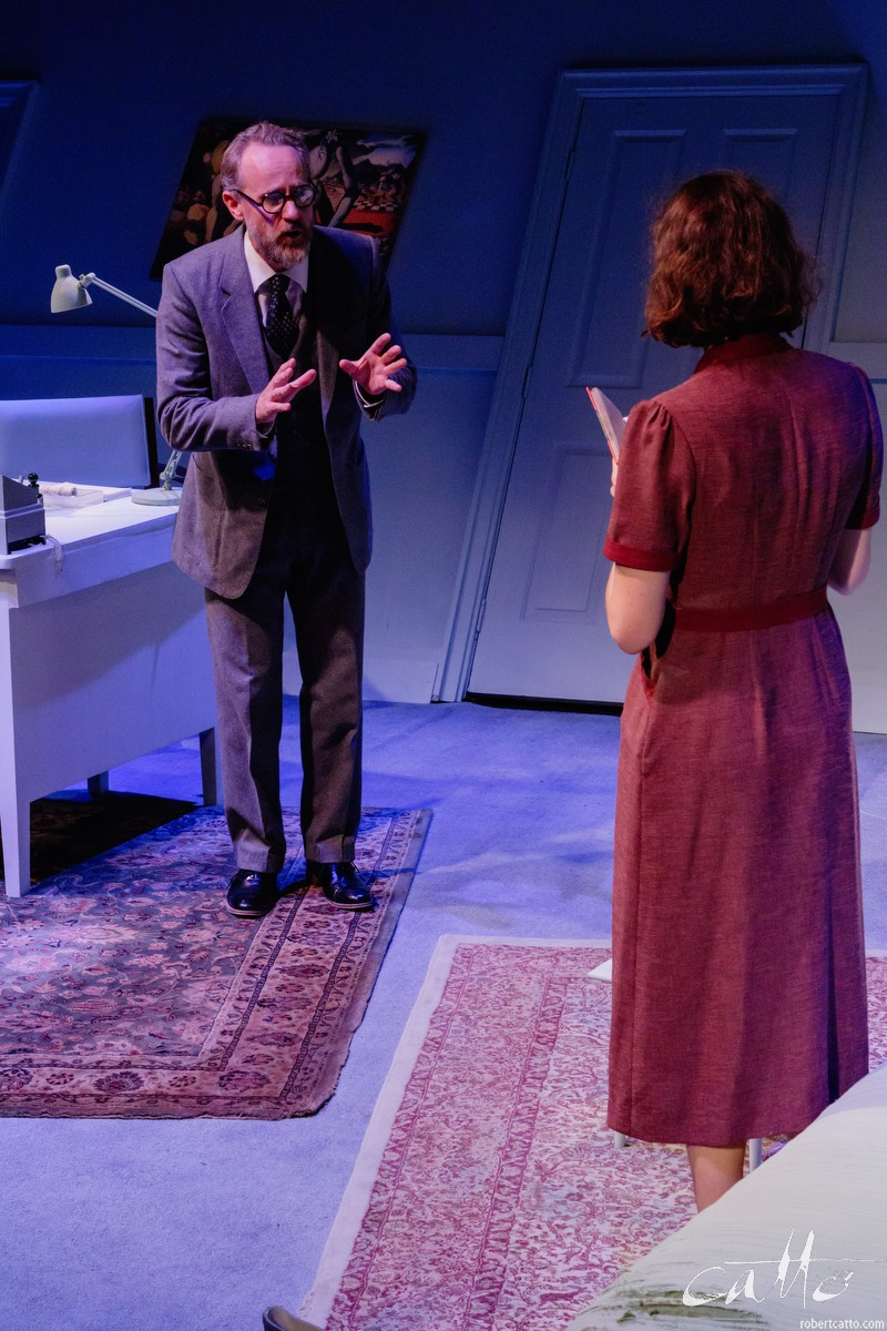 Jo Turner and Miranda Daughtry in Hysteria. I've skirted right to the edge of the stage here, cropping Michael (Dali) out of the frame and putting the emphasis onto Freud's reaction to what he's being told by the mysterious woman in front of him.