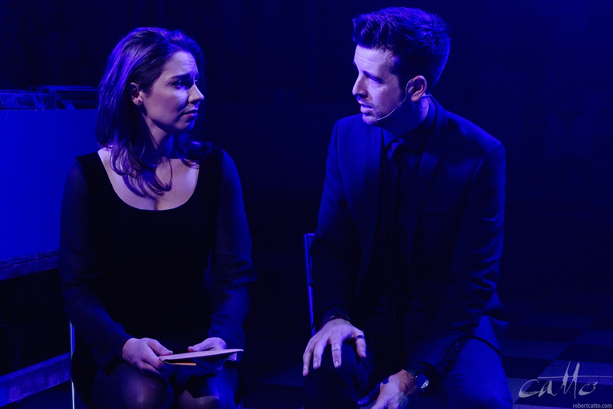 Teagan Wouters as Laura, and Toby Francis as Rob, in High Fidelity at the Hayes Theatre