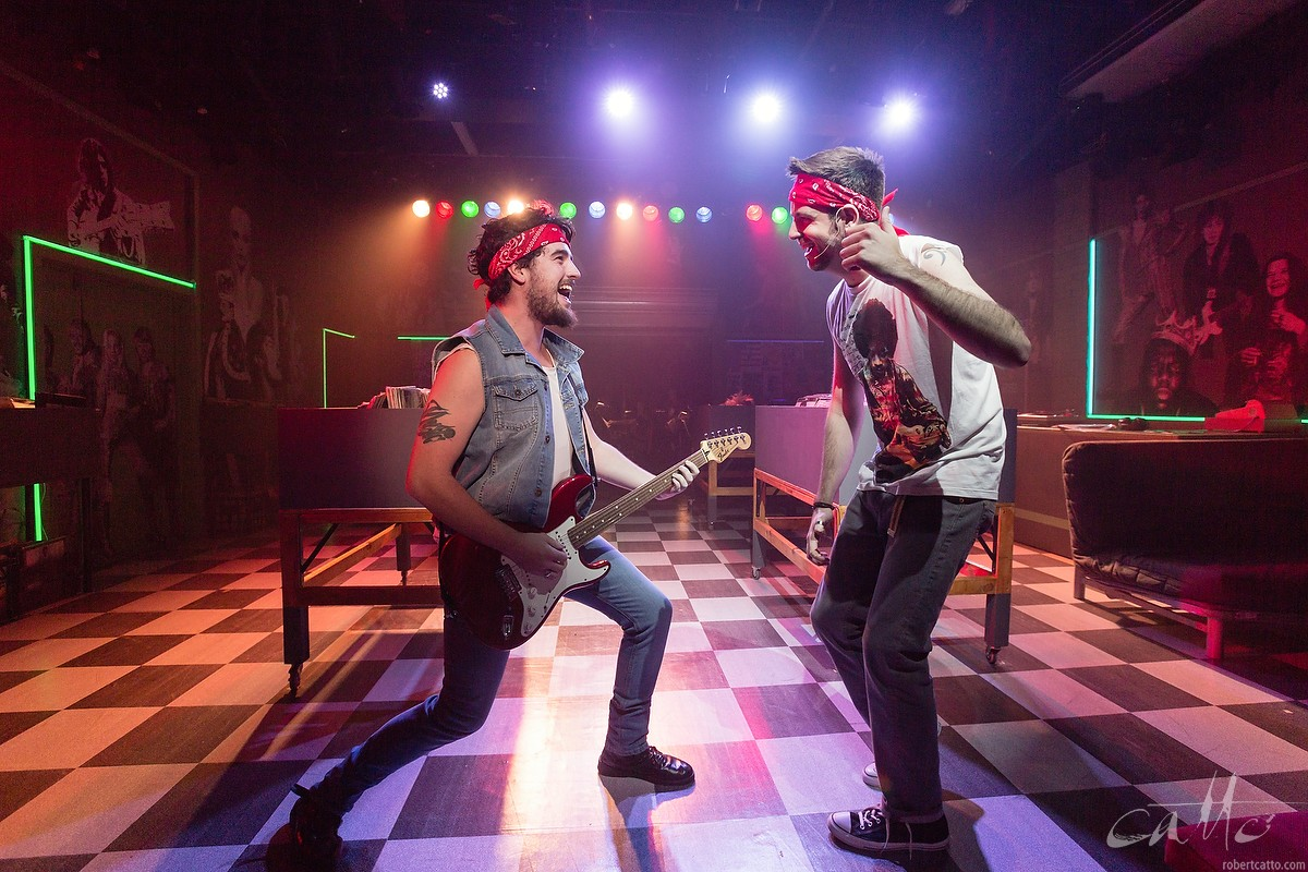 Alex Jeans as Bruce Springsteen and Toby Francis as Rob in High Fidelity at the Hayes Theatre, Sydney