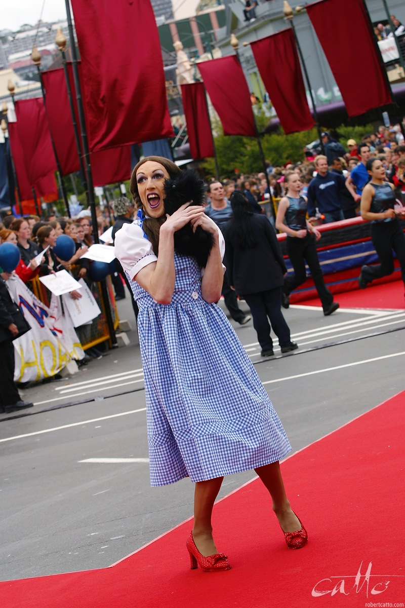 Wellington drag queen Polly Filla walks the red carpet as Dorothy from the Wizard of Oz, at the Australasian Premiere of The Lord Of The Rings: The Two Towers,at Wellington's Embassy Theatre.