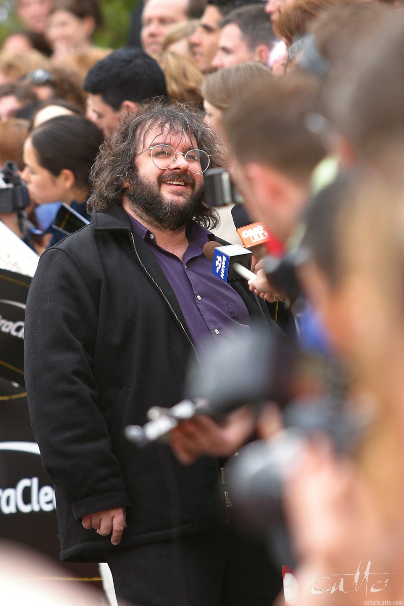 Director Peter Jackson works his way down the long line of media at the Australasian Premiere of The Lord Of The Rings: The Two Towers,at Wellington's Embassy Theatre.