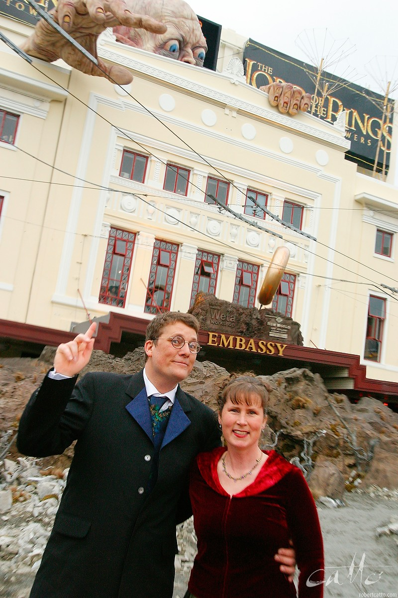 Weta Workshop founders Richard Taylor and Tania Rodger,at the Australasian Premiere of The Lord Of The Rings: The Two Towers,at Wellington's Embassy Theatre.