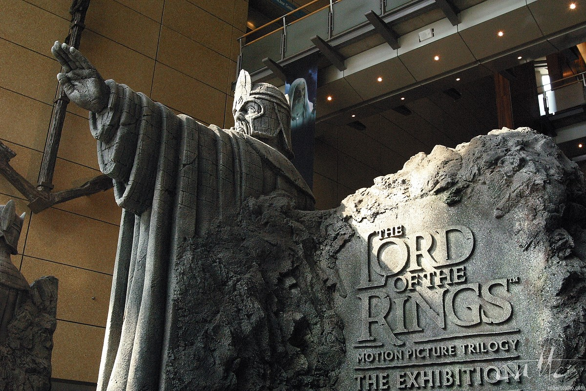 Guardians at the entrance to Te Papa Museum for the Lord Of The Rings exhibition.