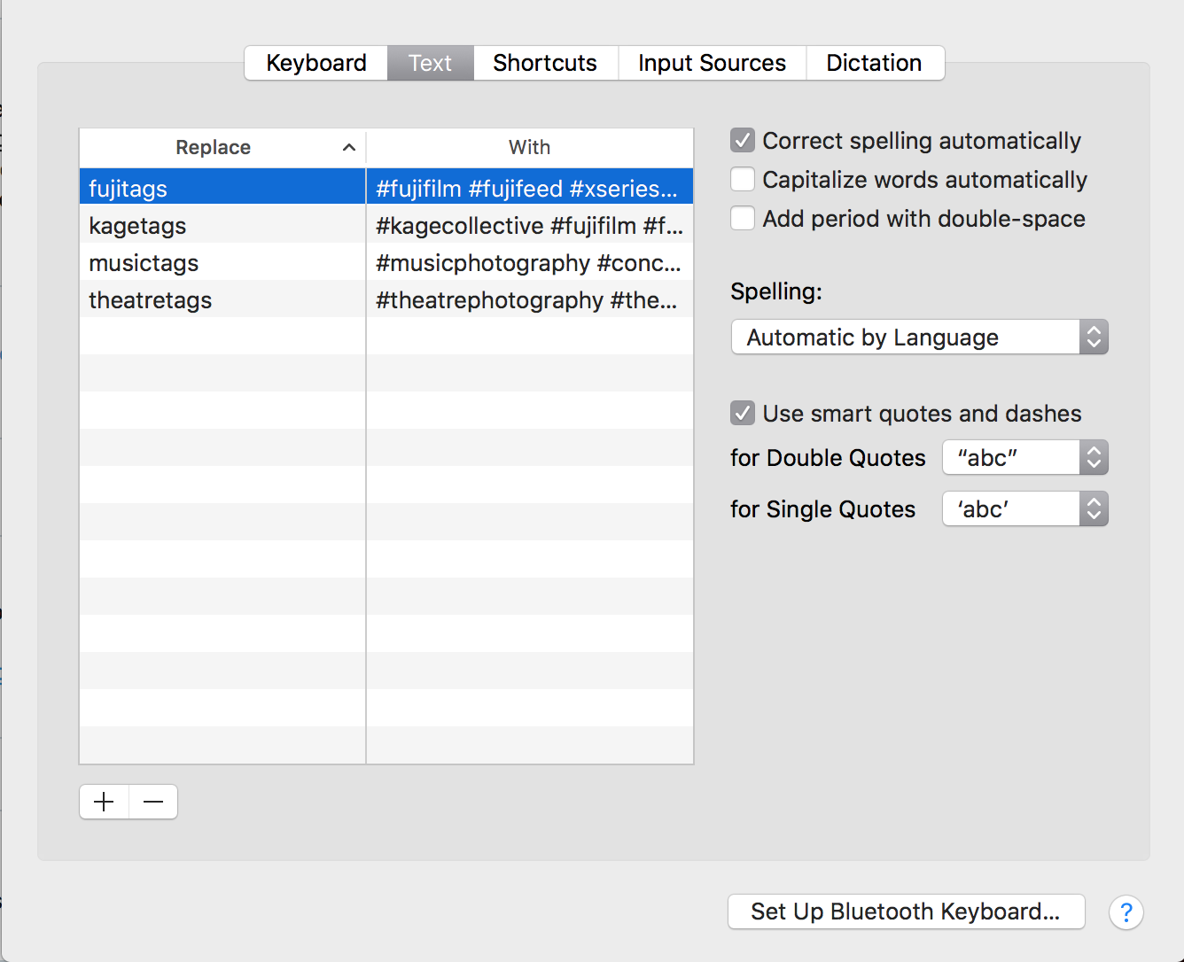 Text Replacement Settings on Mac OS High Sierra (Settings / Keyboard / Text)