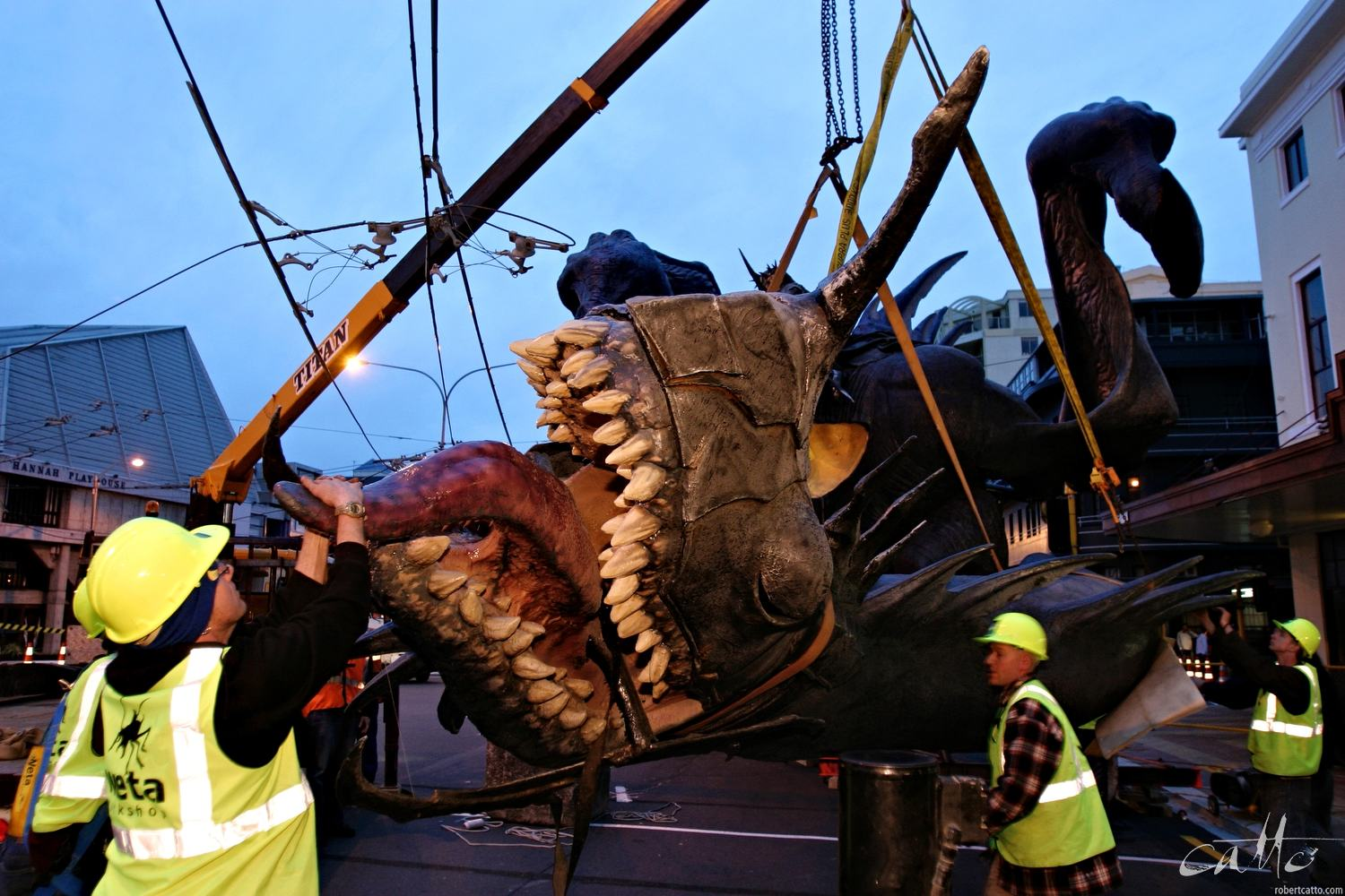 The Fell Beast with Dark Rider is installed on the Embassy Theatre in Wellington before the World Premiere of The Lord Of The Rings: The Return Of The King in 2003.