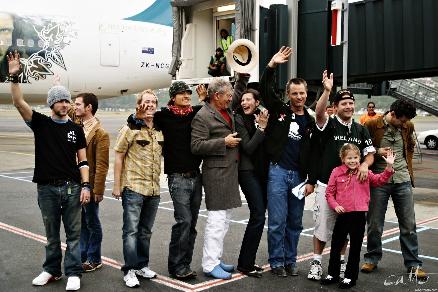 The cast of The Lord Of The Rings: The Return Of The King depart Wellington Airport - Dominic Monaghan, Elijah Wood, Billy Boyd, Orlando Bloom, Sir Ian McKellen, Liv Tyler, Viggo Mortensen, Sean Astin (and his daughter) and Andy Serkis wait to board a custom-painted Air New Zealand plane.