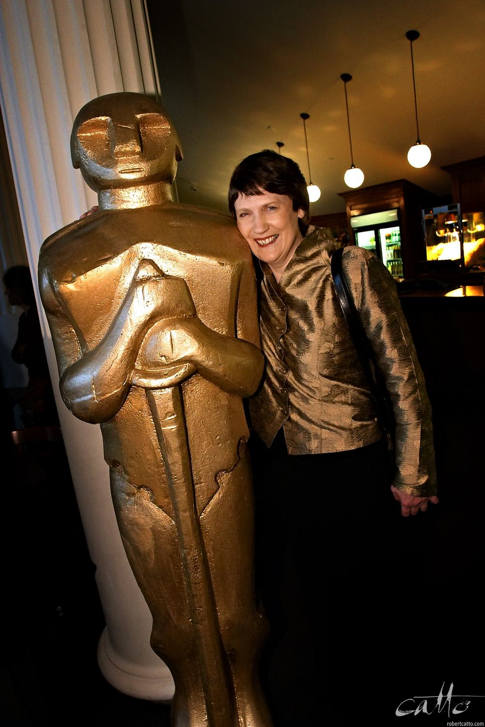 New Zealand Prime Minister Helen Clark at the Embassy Theatre in Wellington on Oscar night, 2004.