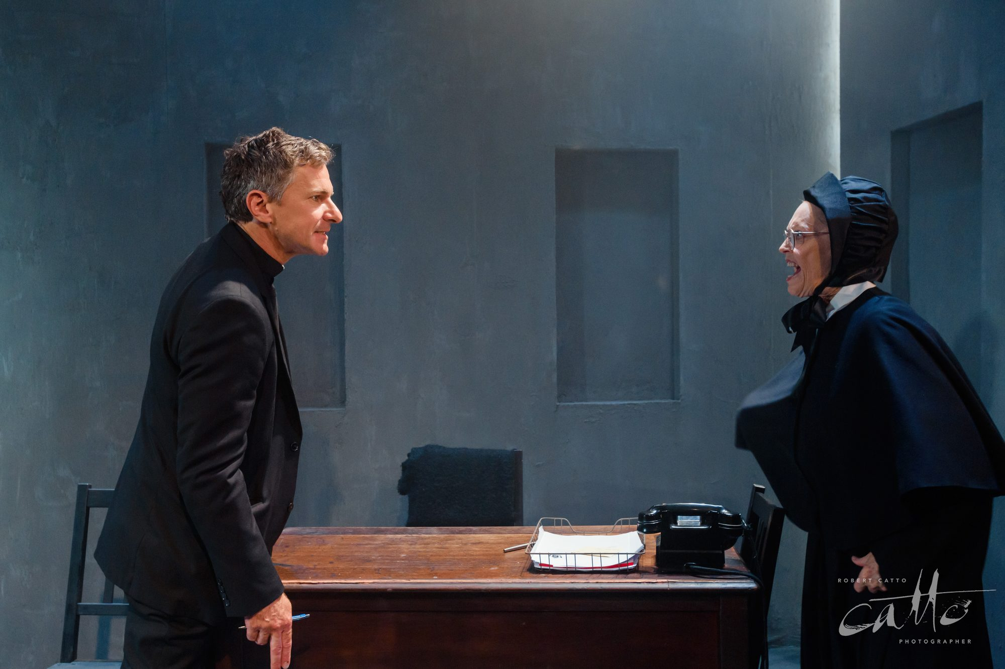 Damien De Montemas and Belinda Giblin in Doubt: A Parable, at the Old Fitz Theatre.