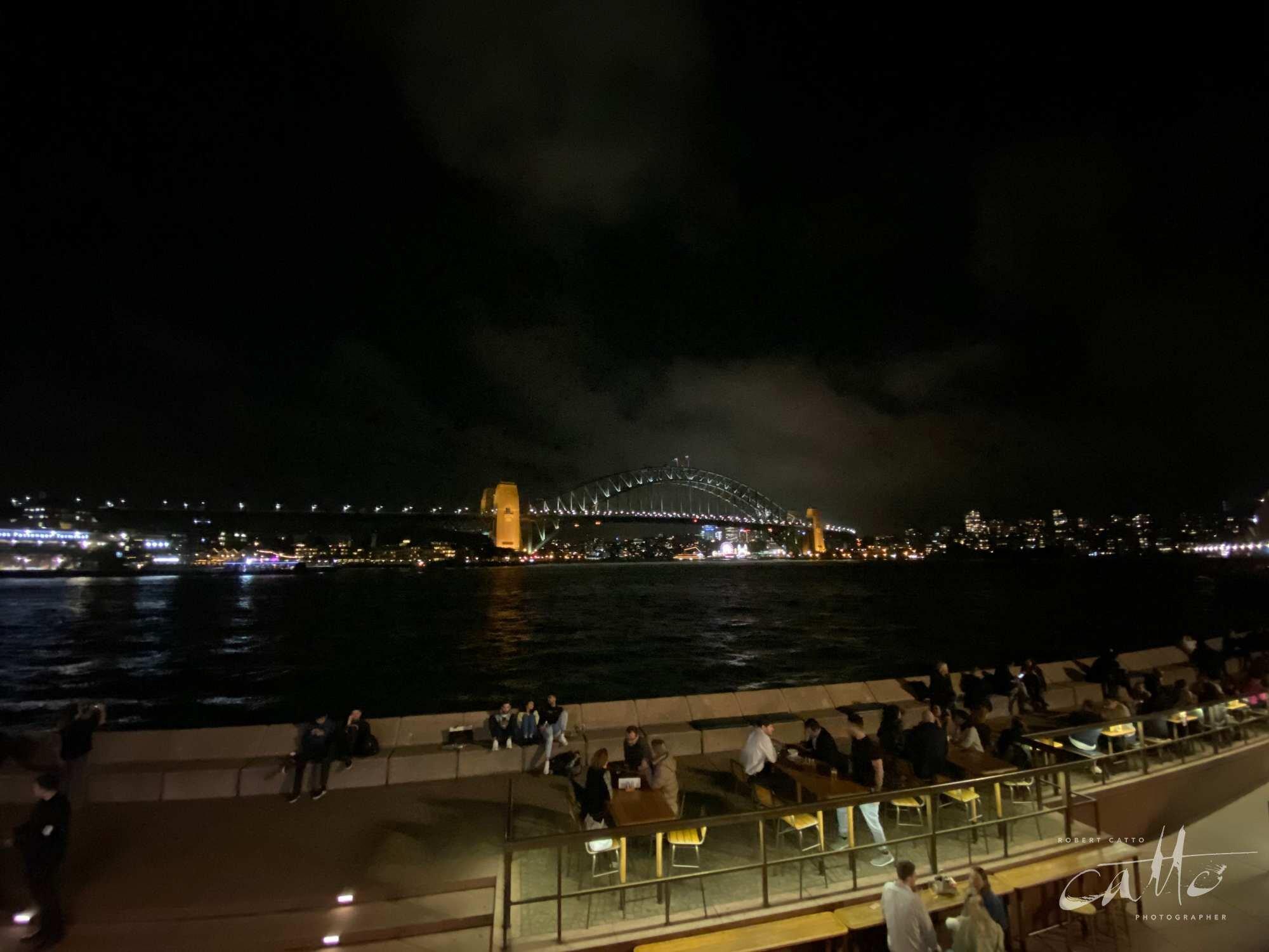 Sydney Harbour Bridge at night (0.5x wide angle lens)