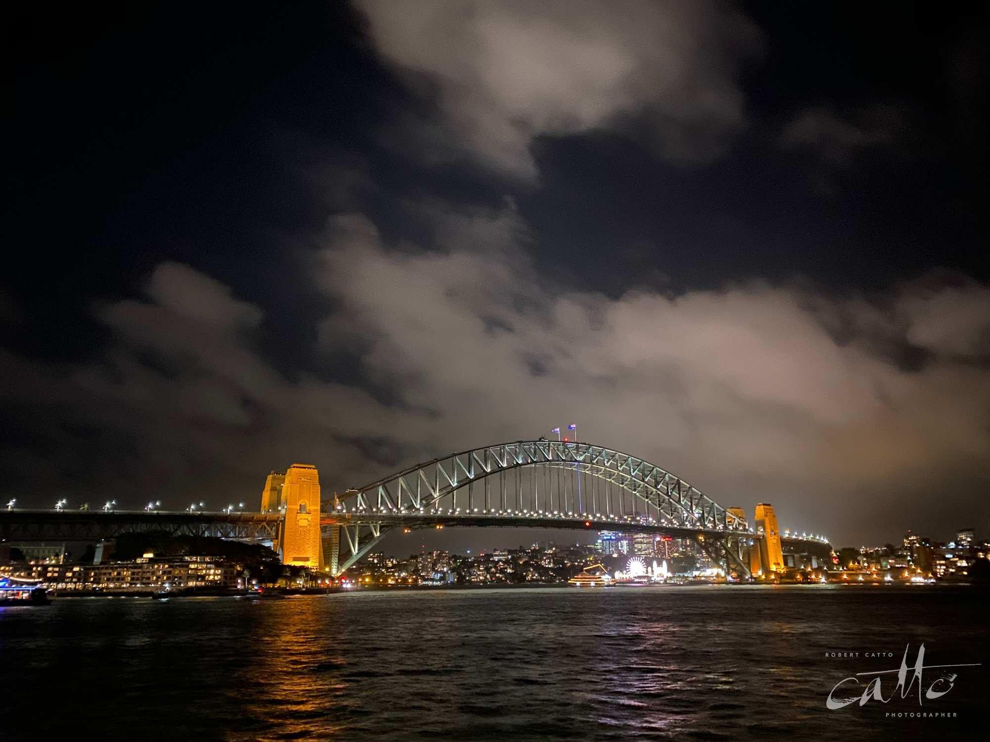 Sydney Harbour Bridge at night (normal lens)