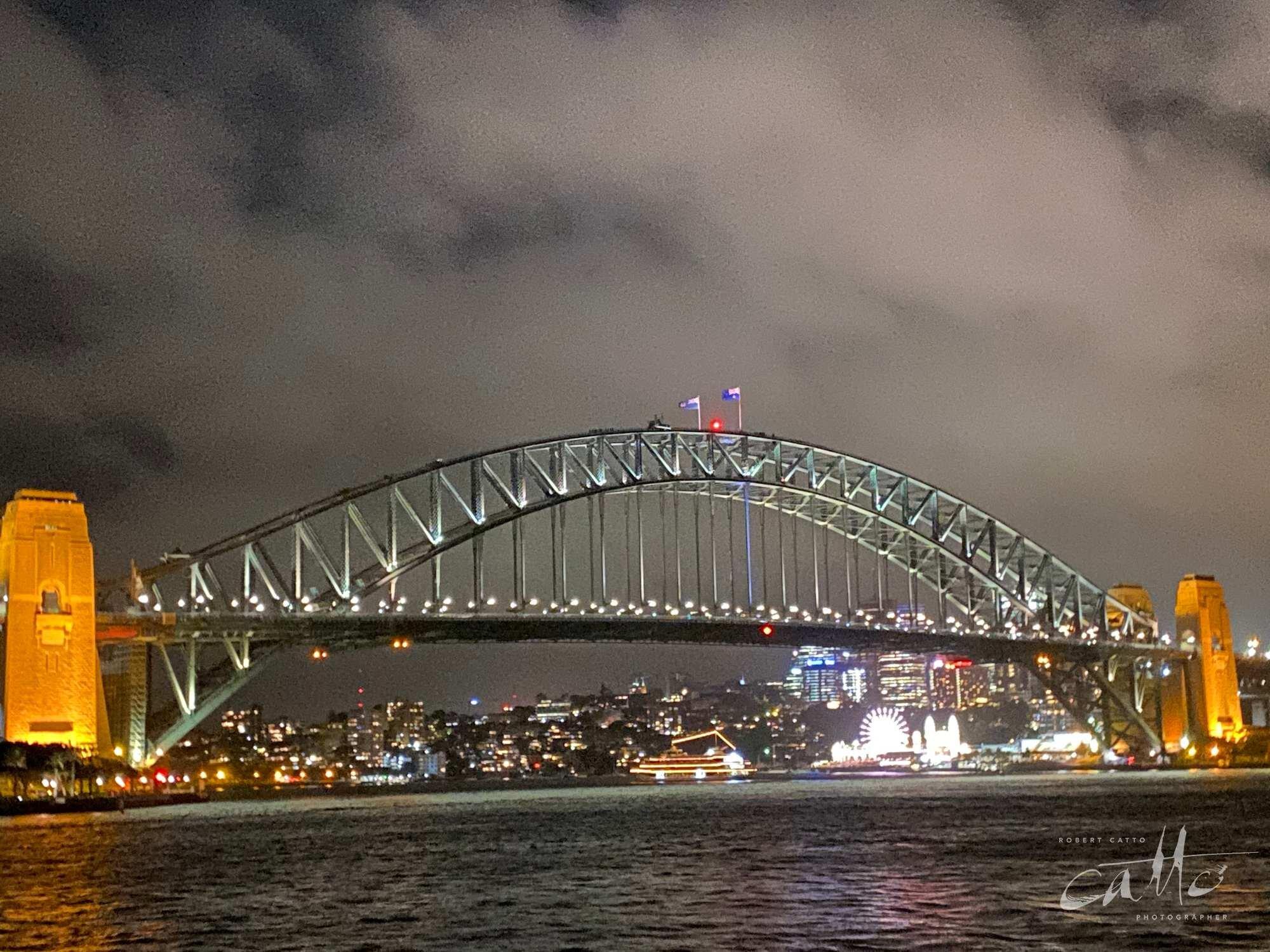 Sydney Harbour Bridge at night (2x zoom lens)
