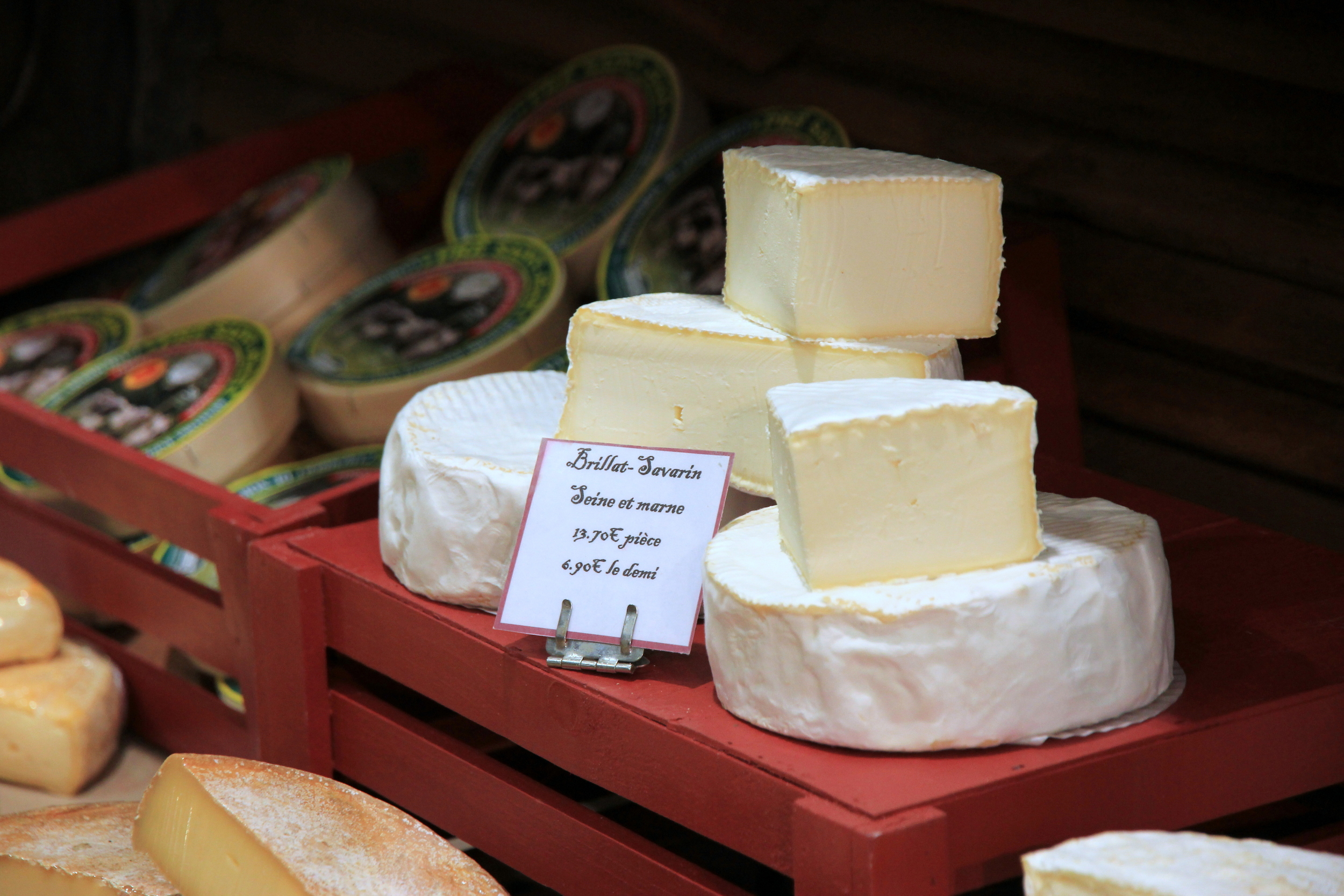 Brillat-Savarin on the shelf at  Fromagerie Libert  (around the corner from me) made in the Seine-et-Marne department, Île de France.