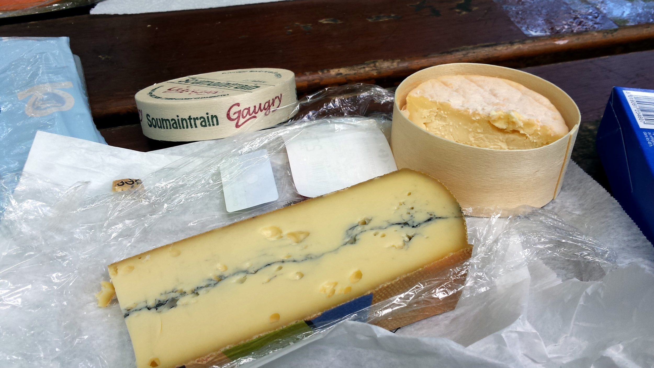 Soumaintrain  and  Morbier . It's supermarket cheese, but it was still pretty good.