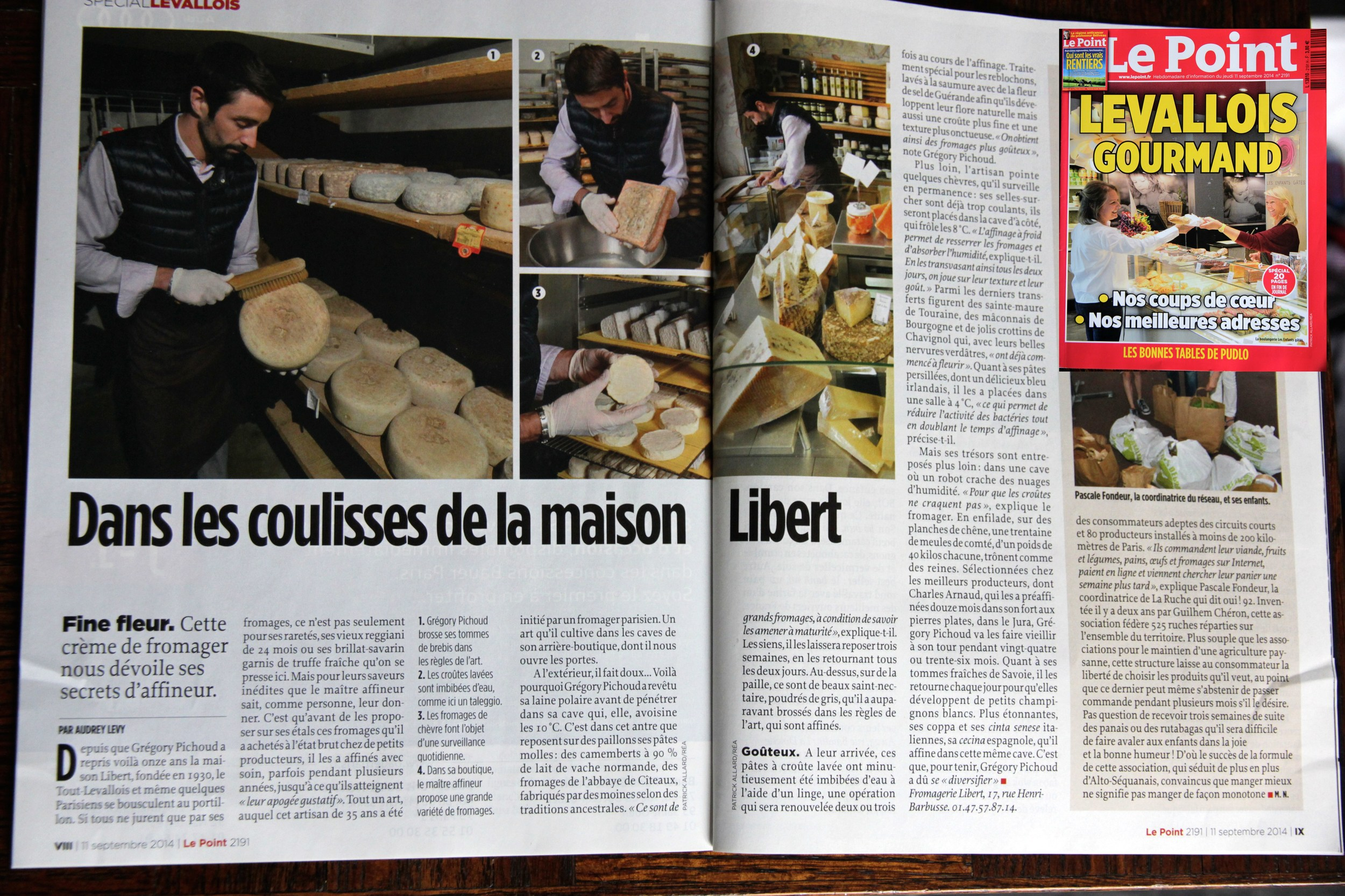 Article on Fromagerie Libert in the Levallois Gourmand edition of Le Point magazine (Sept 11 2014 no 2191) / Article sur la Fromagerie Libert dans l'édition« Levallois Gourmand » du magazine hebdo Le Point (11 septembre 2014n° 2191)