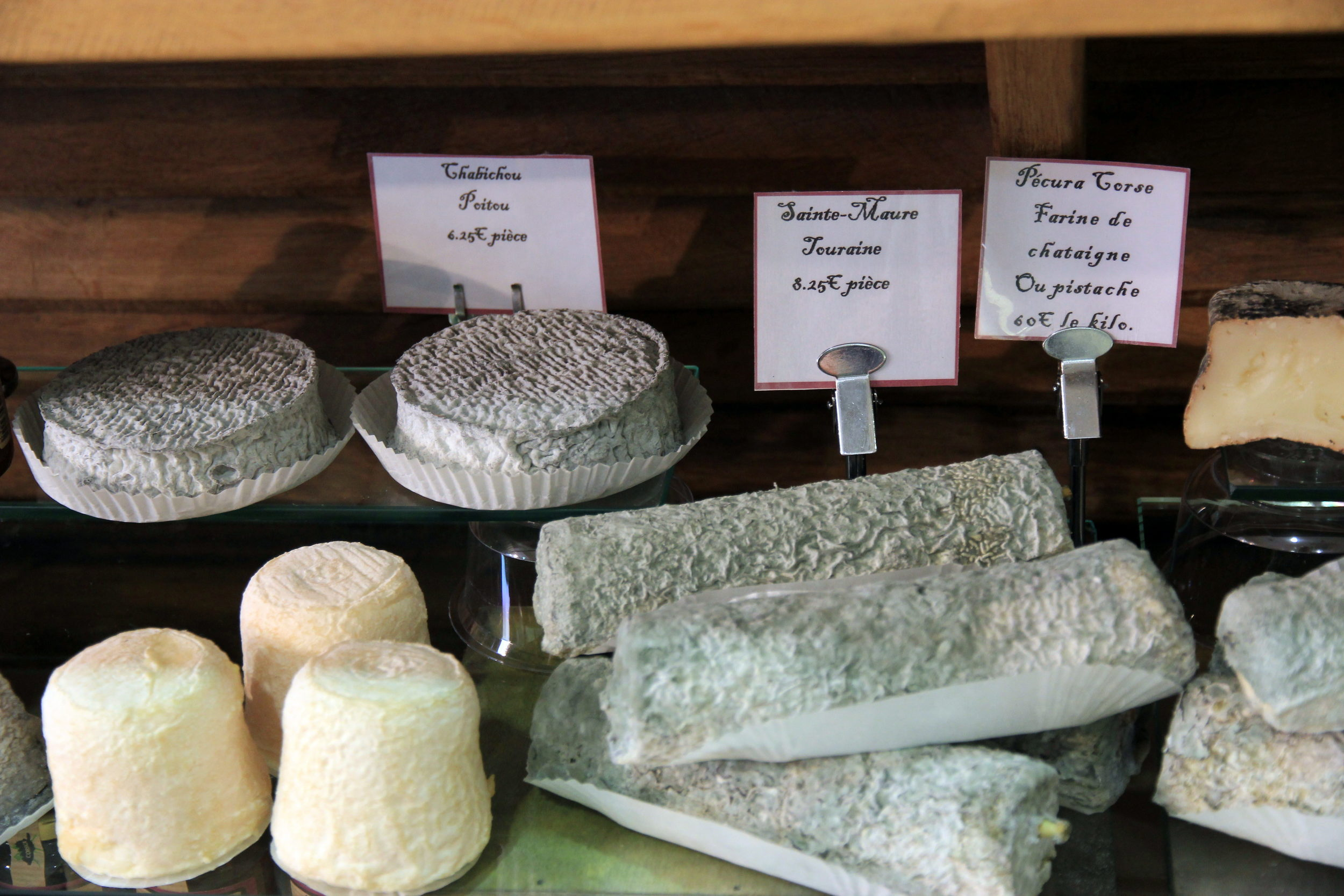 Part of the chèvre section at Fromagerie Libert