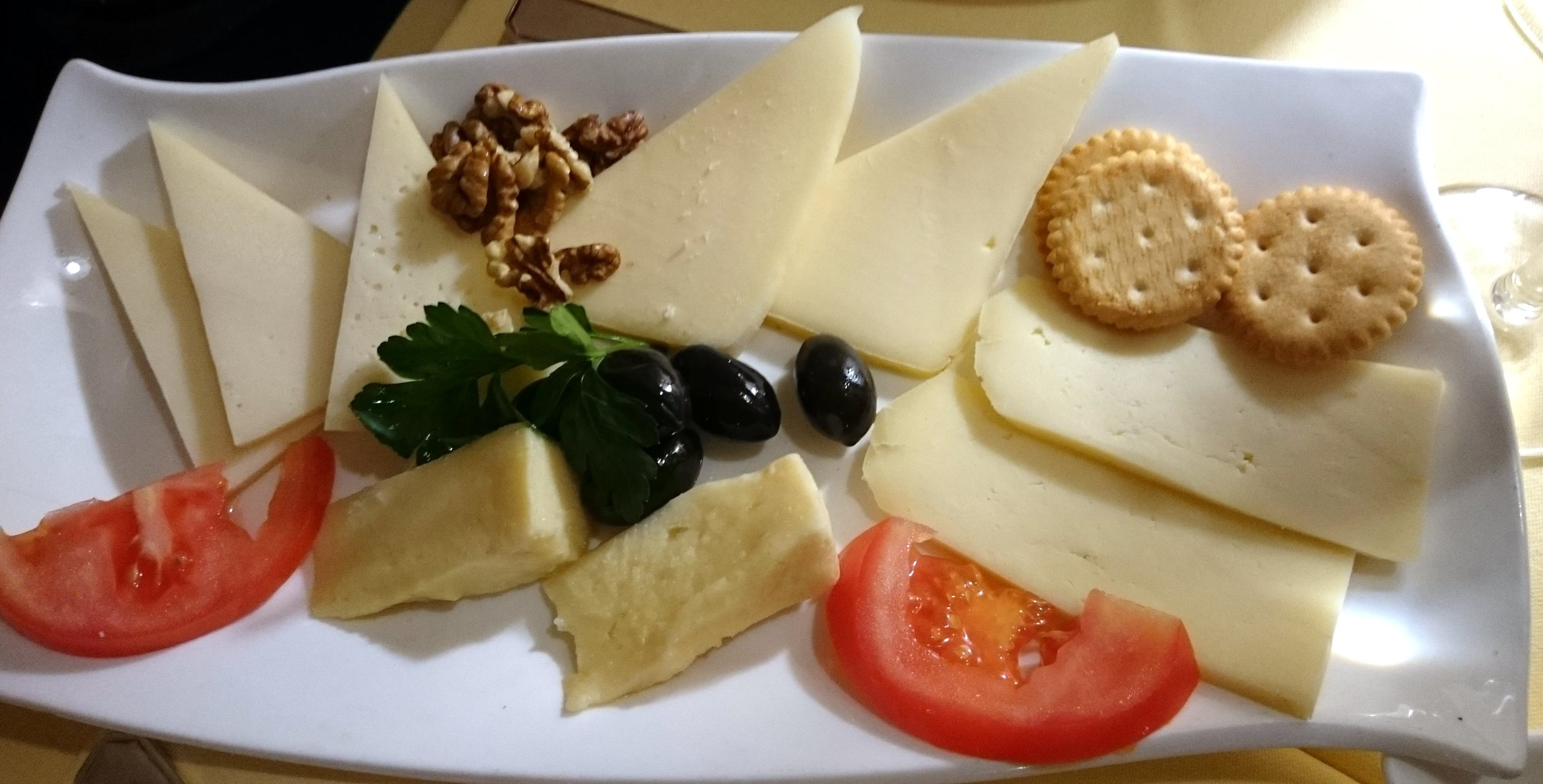 Cheese plate from Ragusa. The Pag cheese is on the far left.