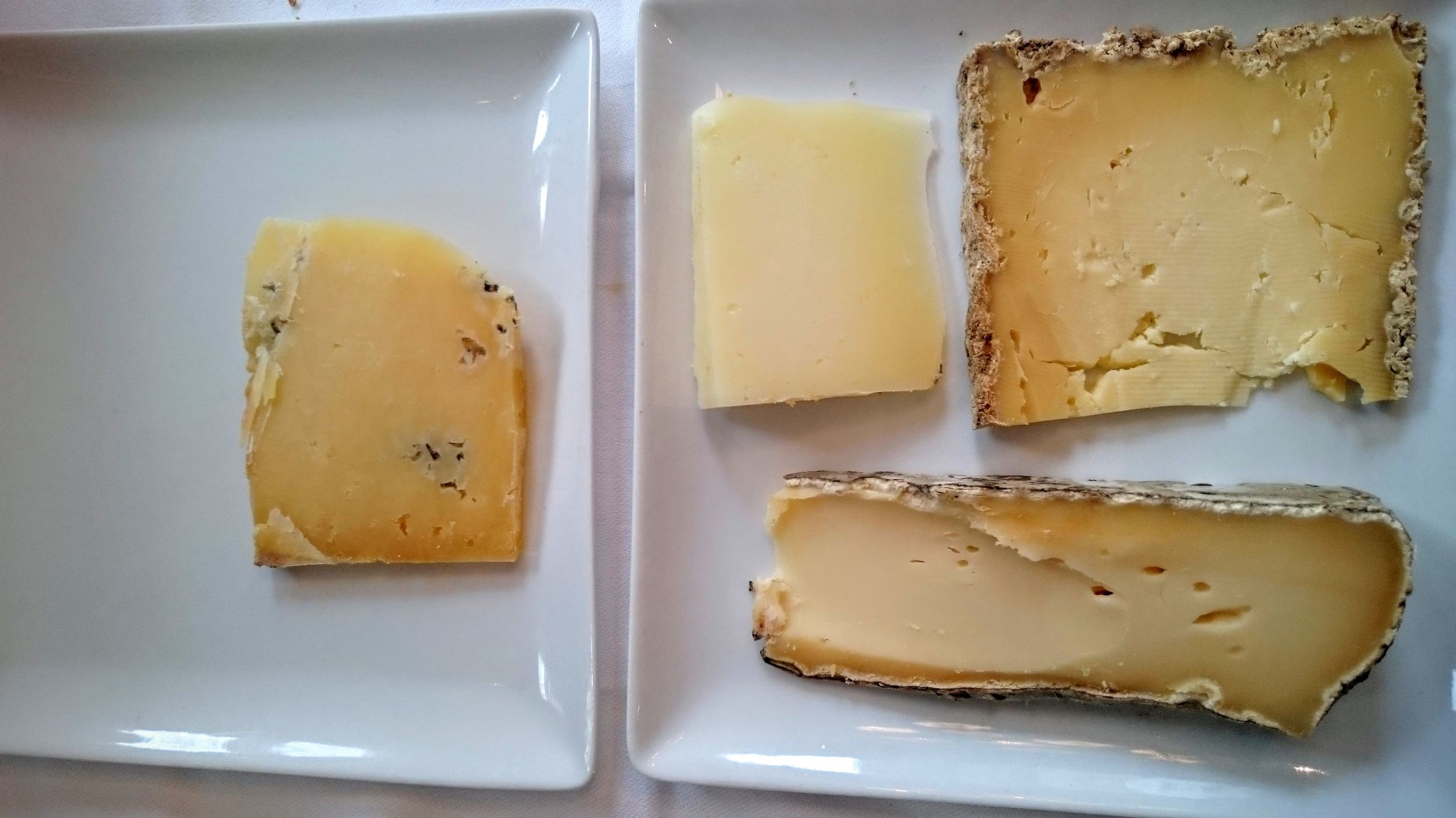 Left plate: Salers (cow). Right plate: Manchego (sheep, top left), tomme de montagne (cow, top right), Saint Nectaire (bottom)