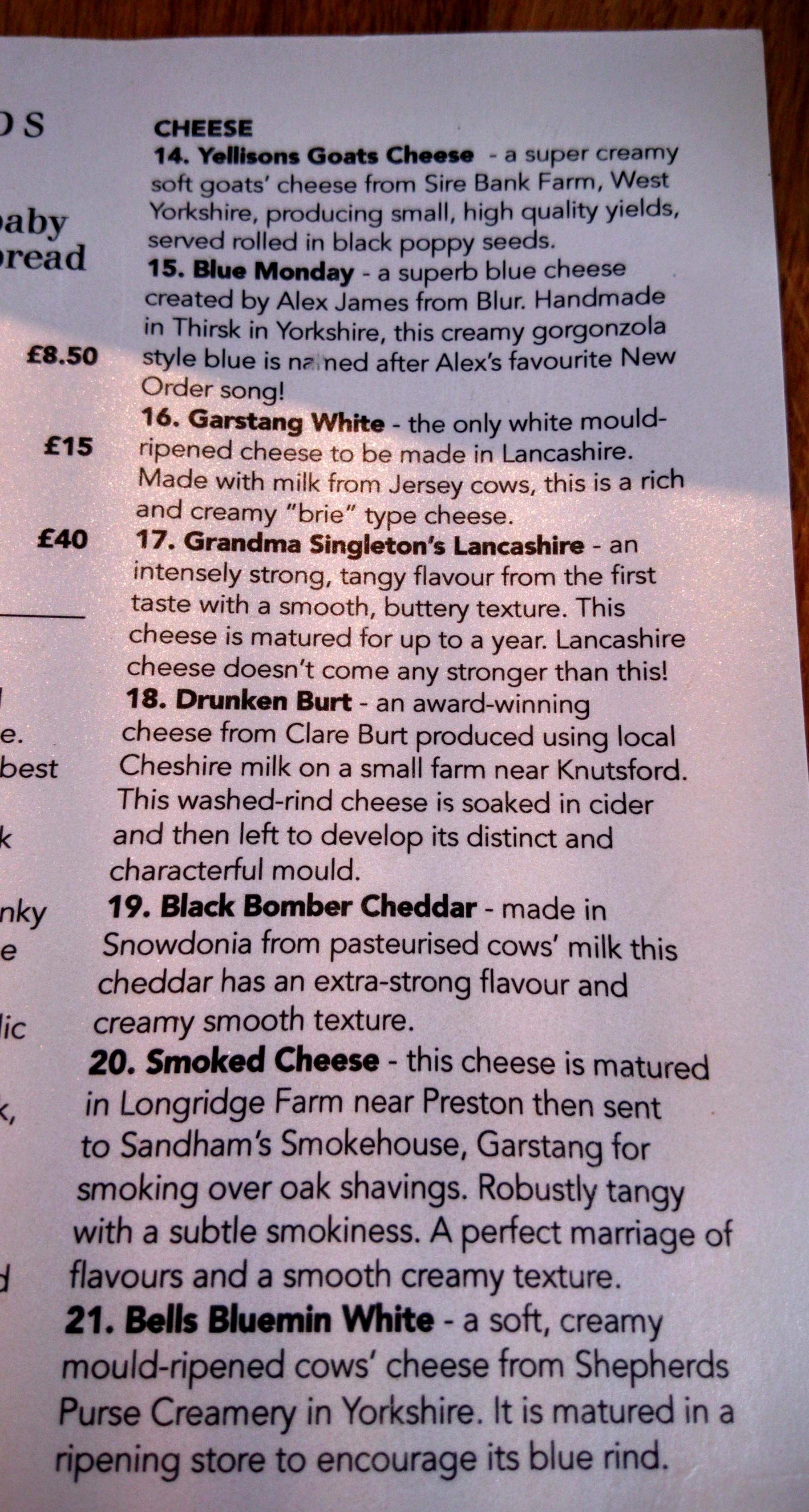 Les options de fromage pour le «sharing board » à Dukes 92.