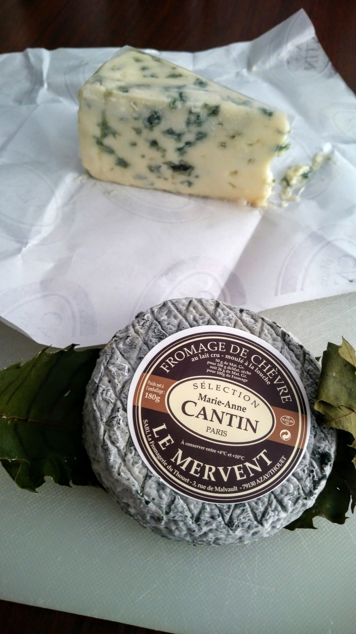 The blue cheese wasn't aggressive at all. The Mervent, a goat's cheese, was just as I like it.
