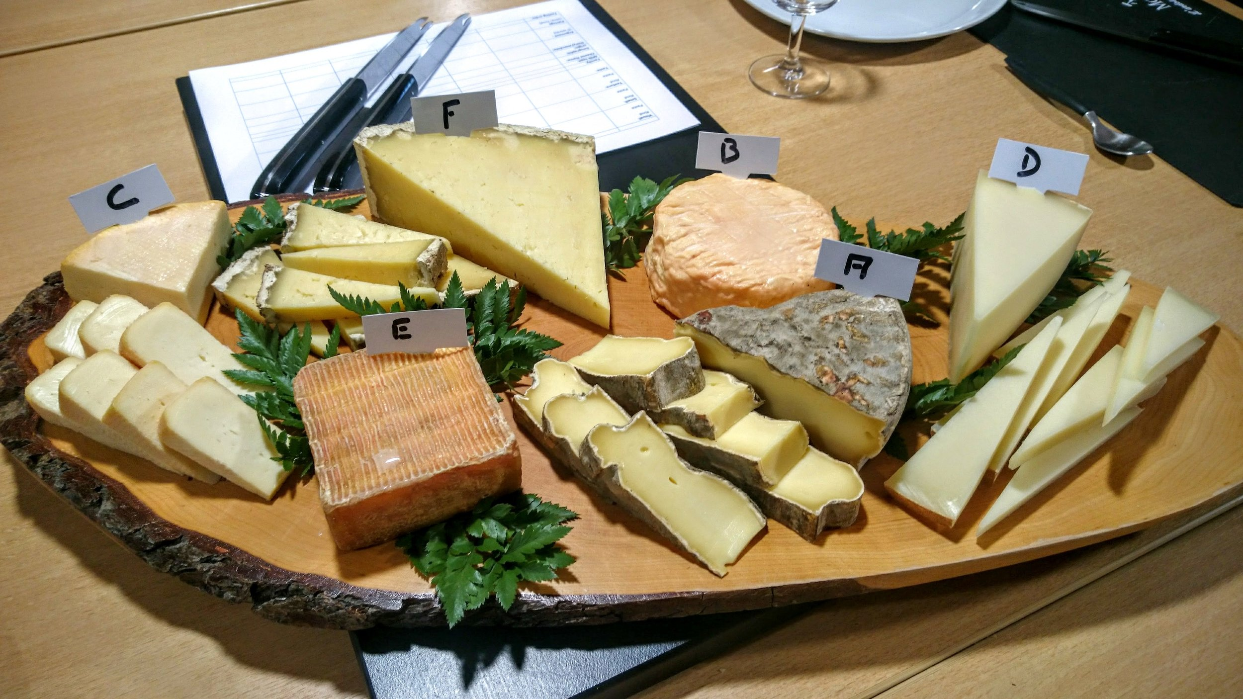 Daily tasting:(A) St Nectaire, (B) Époisses, (C) Munster, (D) Ossau-Iraty, (E) Petit Maroilles, (F) Salers
