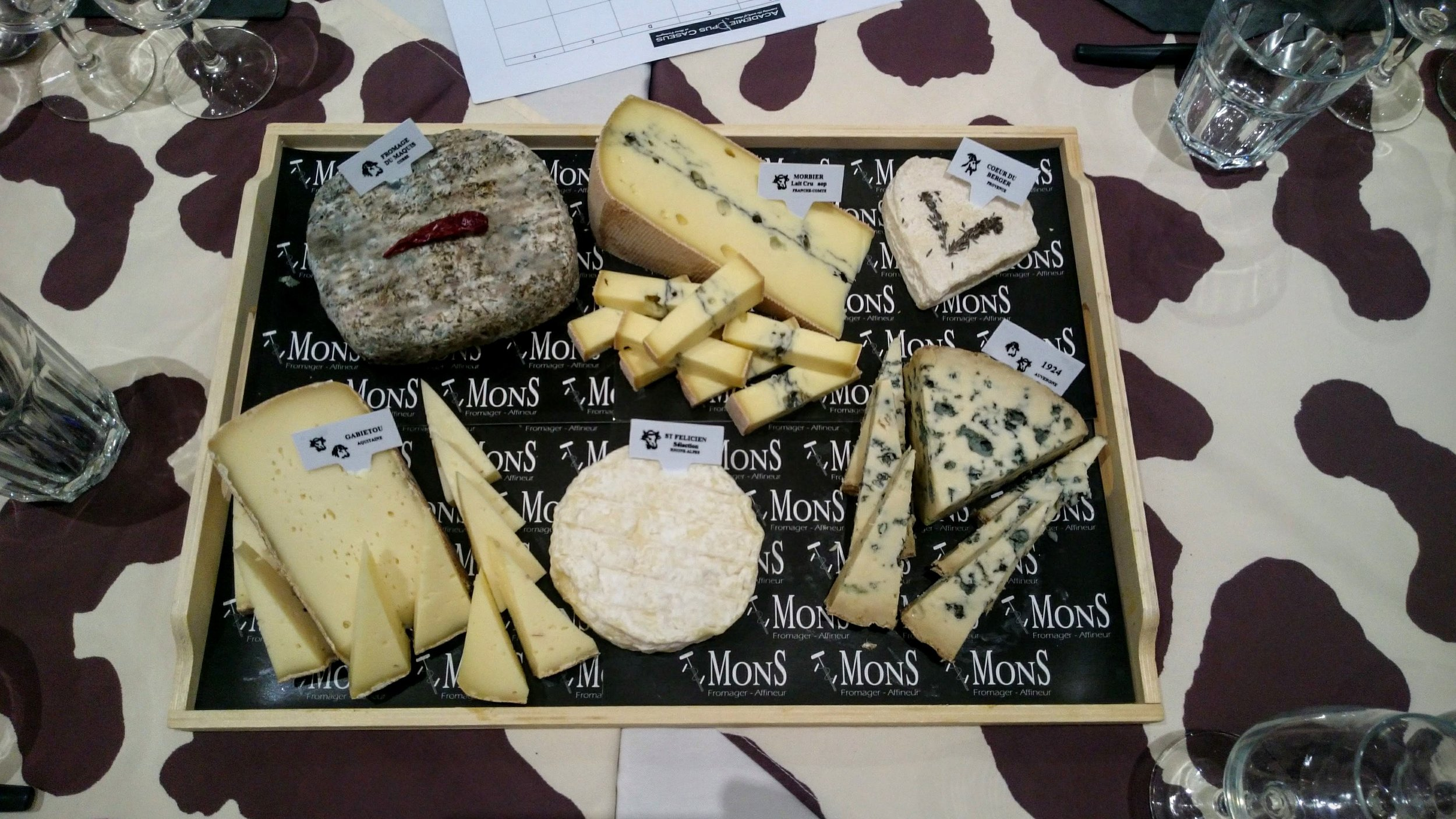 Last tasting, from top left: Fromage de Maquis (sheep), Morbier (cow), Coeur de Berger (goat), 1924 (sheep and cos), Saint-Marcellin (cow), Gabietou (sheep and cow).