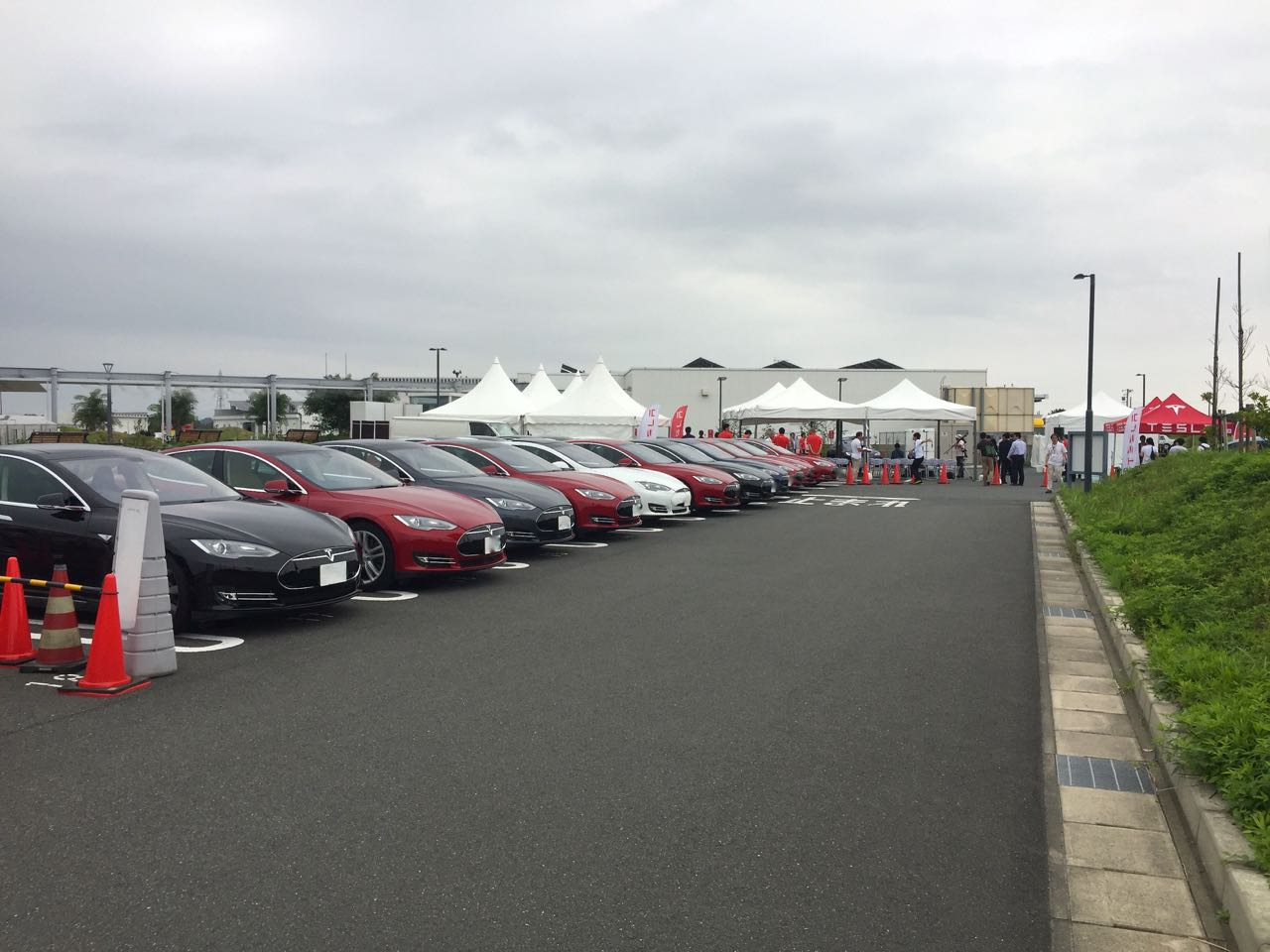 Double the number of Model S you see here, then add around ten. That's how many came for the event.