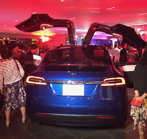 Falcon wing doors open, no tailpipes, clean lines from the back (my favorite view of the Model S and X)
