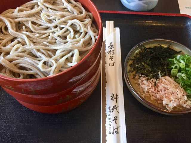 Three tiers of soba with the fixings on the side. Add them as you like with the dipping sauce. Perfection!