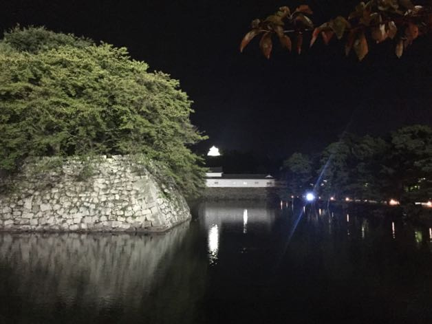 Hikone Castle at night from the front of our hotel
