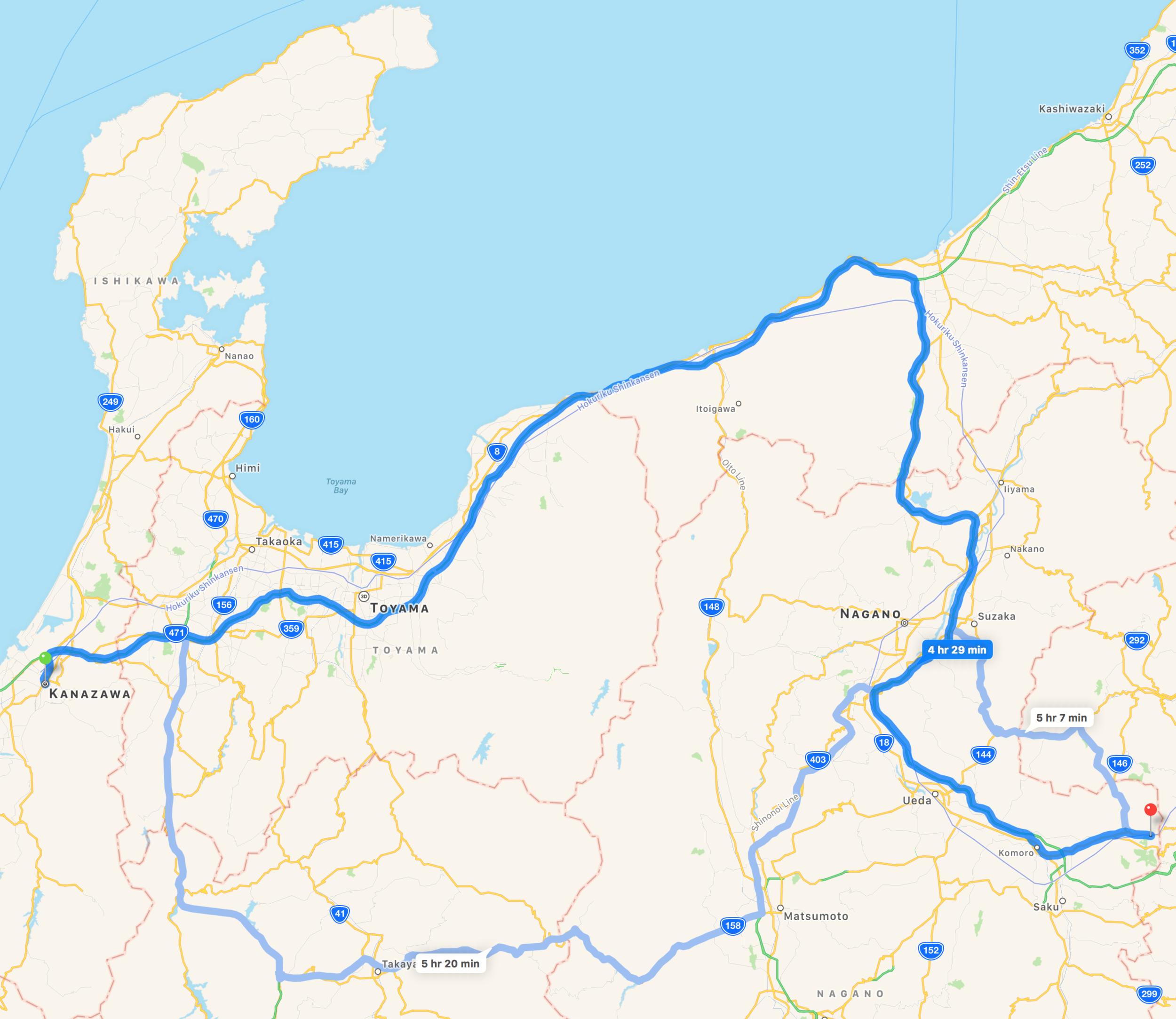 Kanazawa, Ishikawa to Karuizawa, Nagano