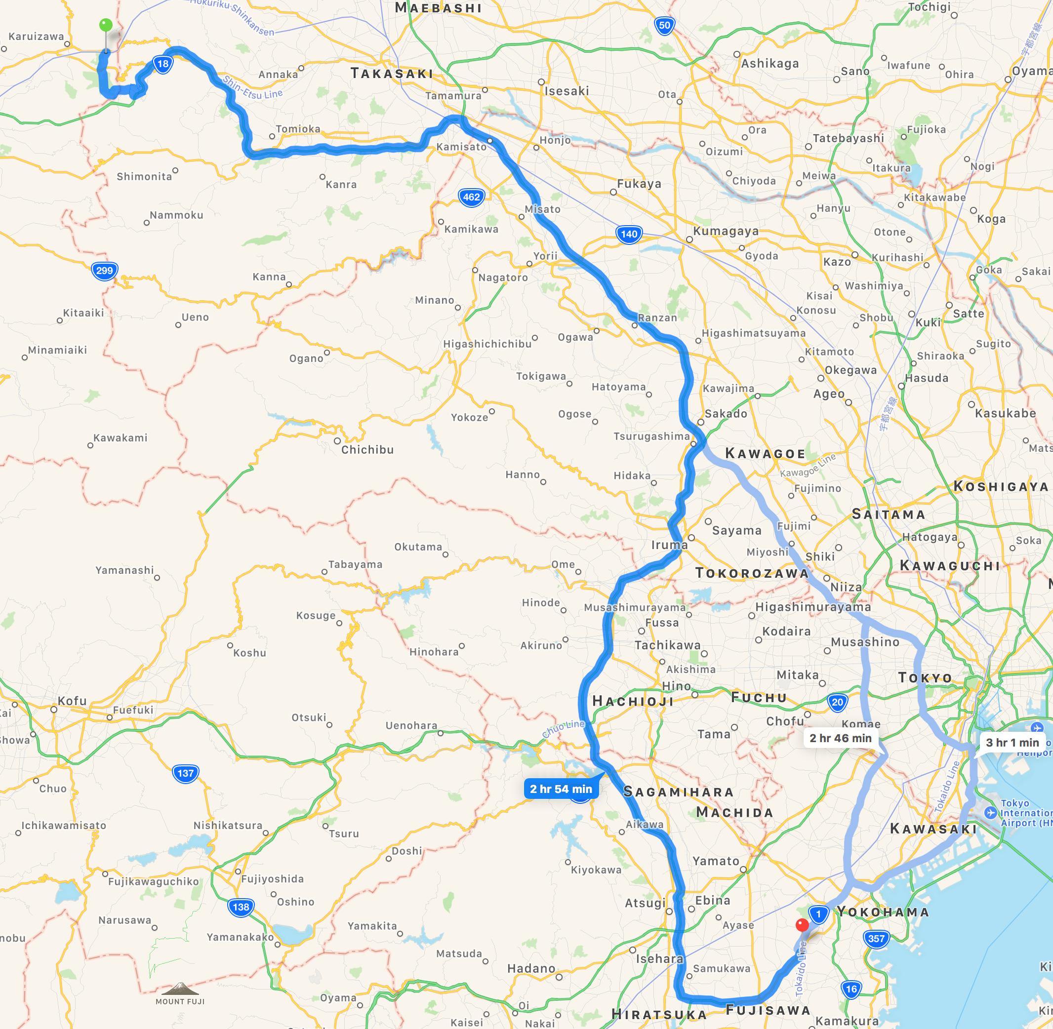 The route from Karuizawa to Totsuka, Yokohama, Kanazawa prefecture