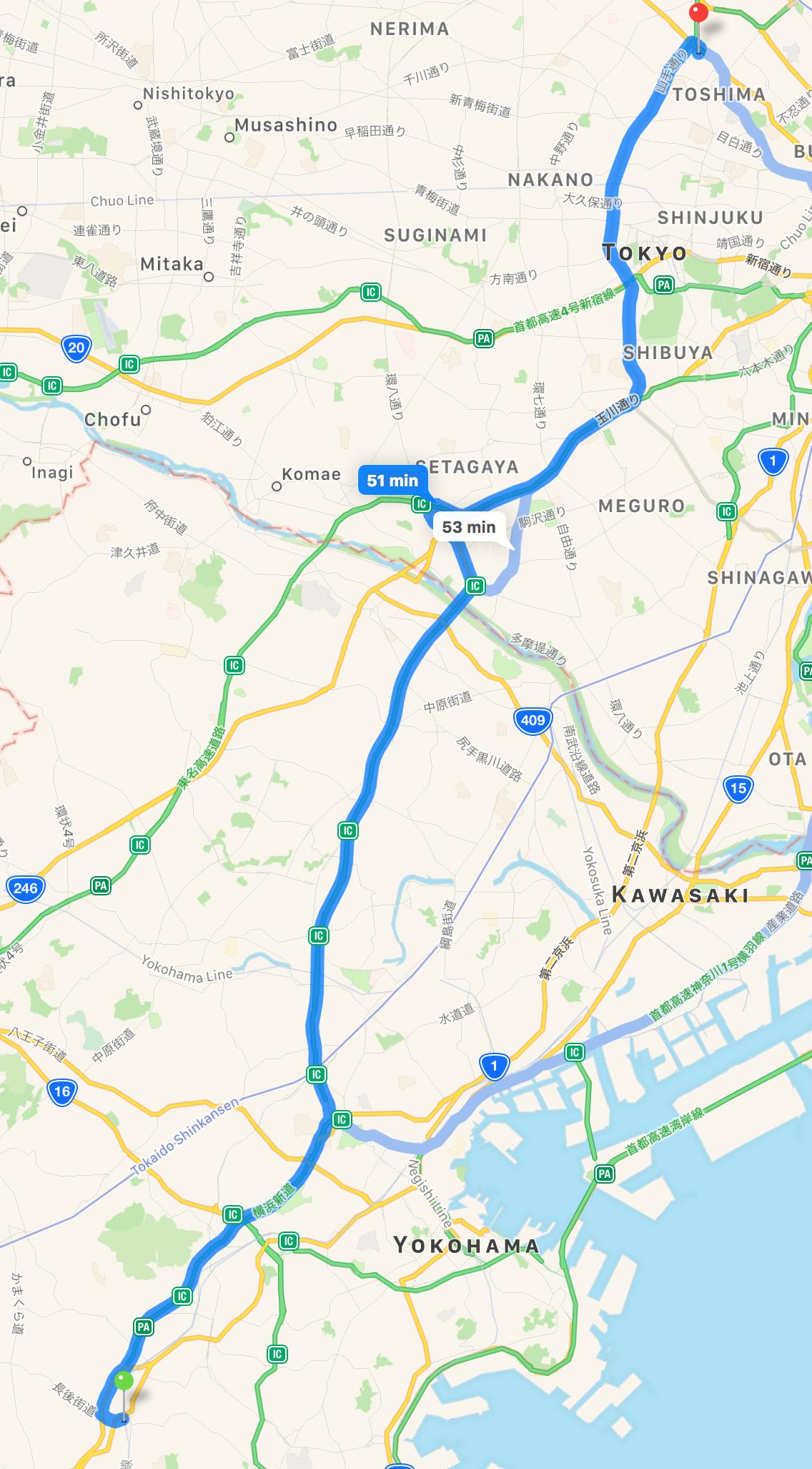 The drive into Tokyo from Yokohama