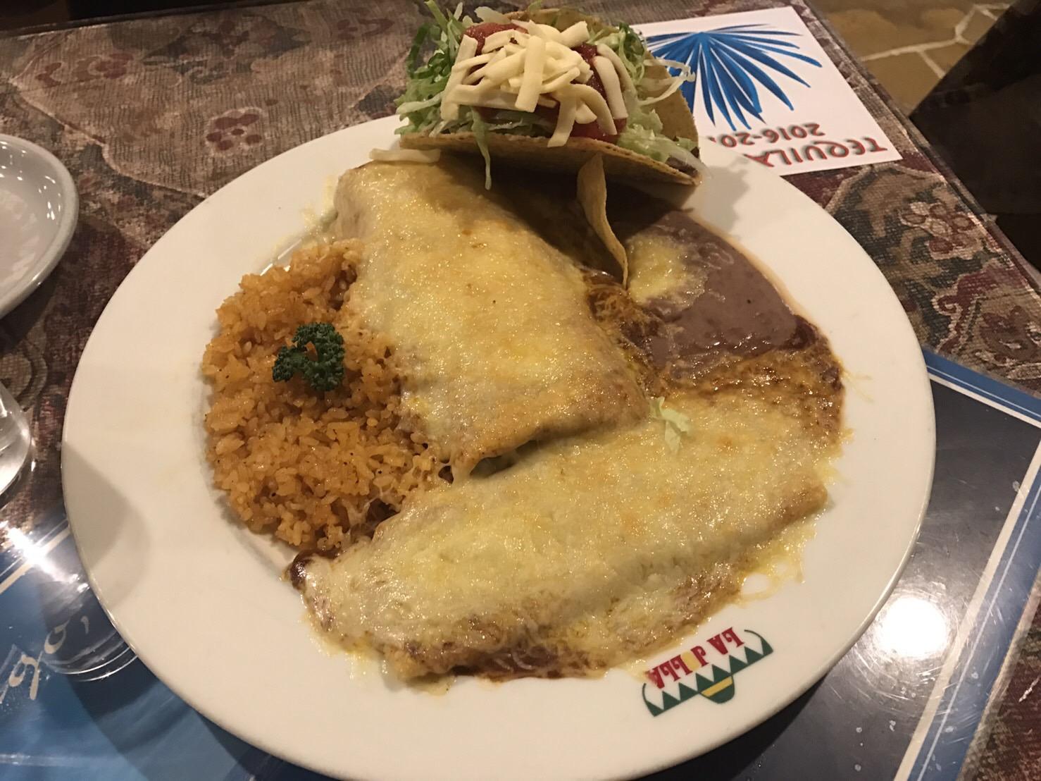 Burrito, taco, enchilada combination