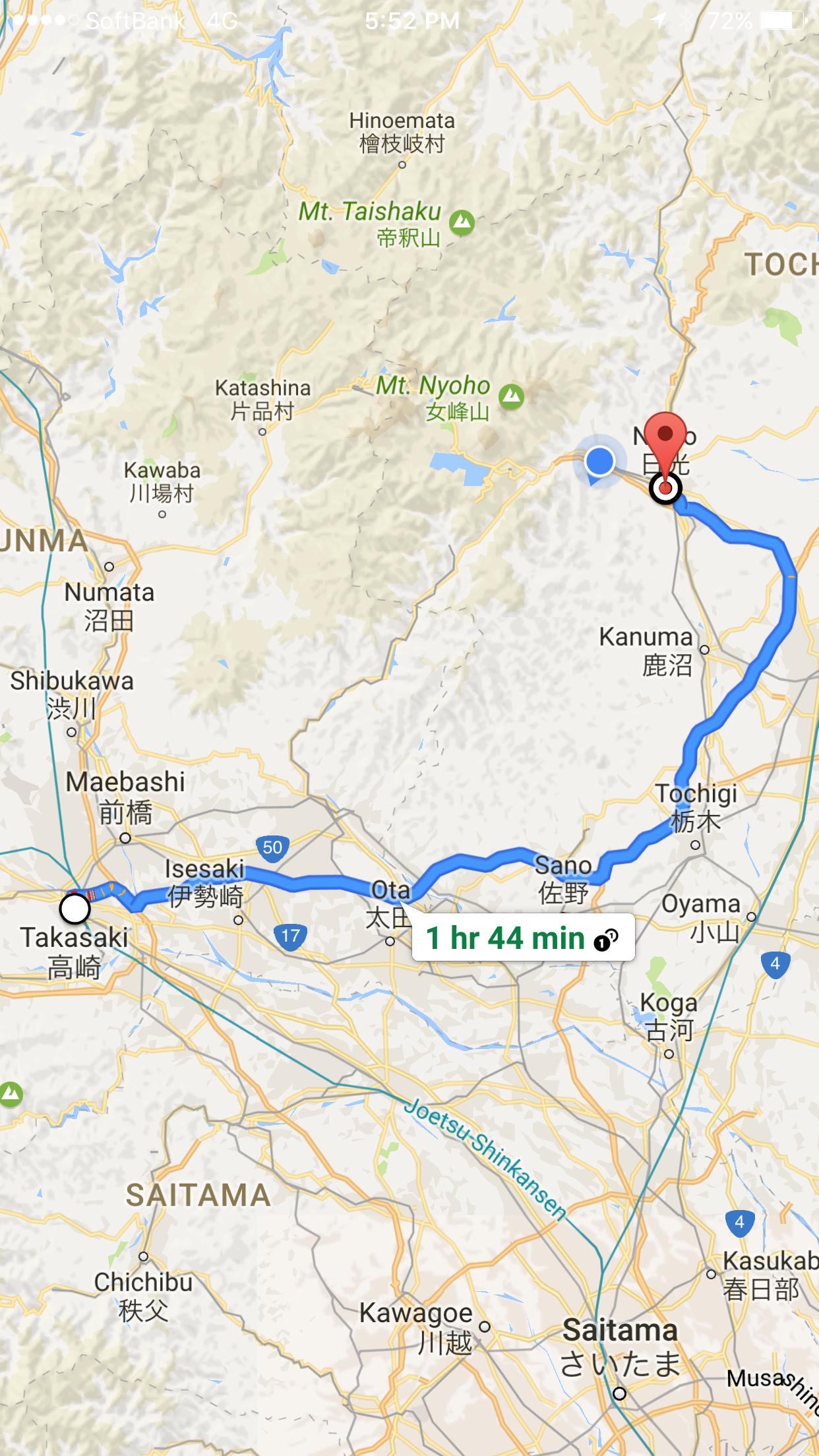 Takasaki to Nikko, Tochigi