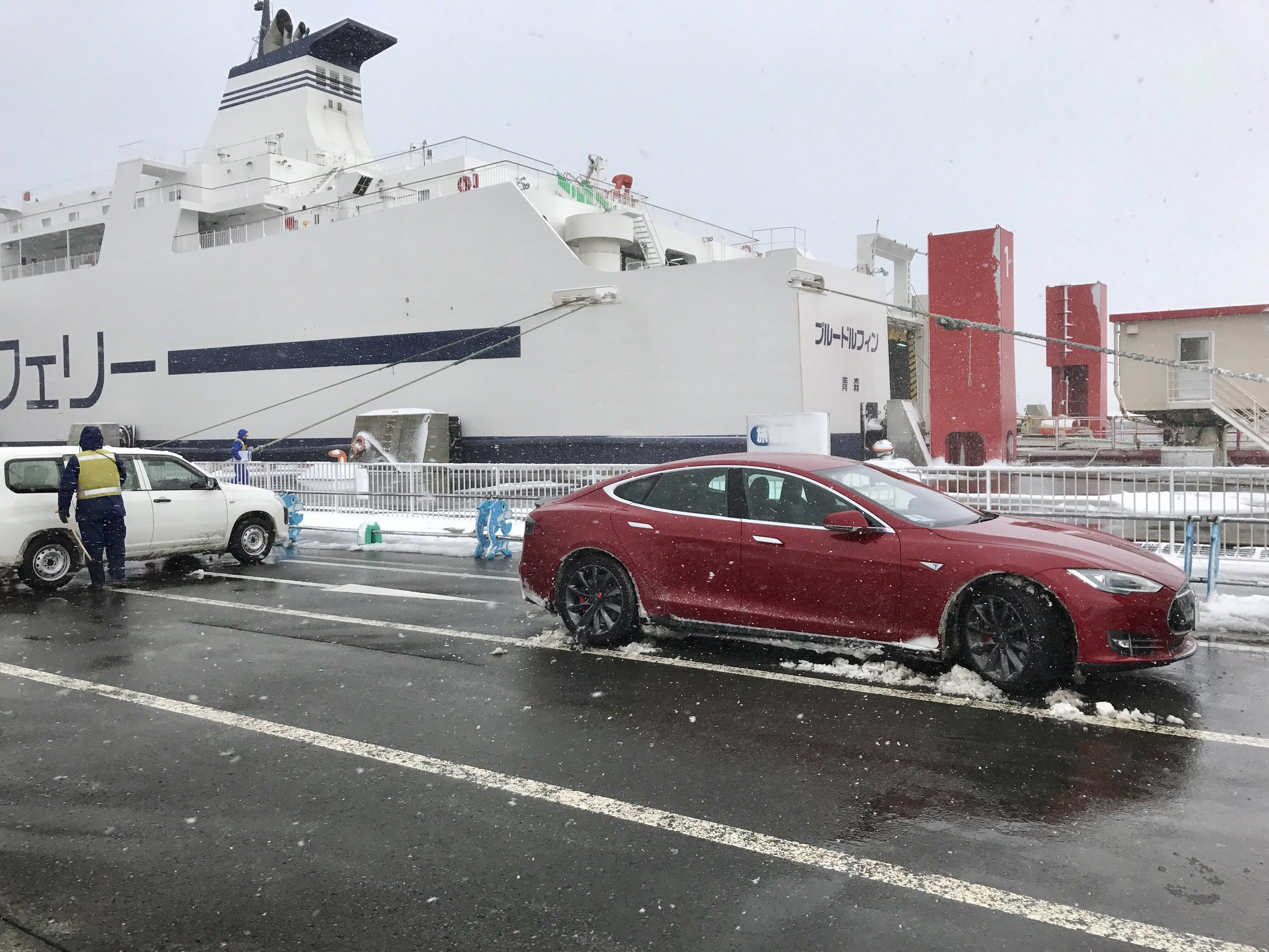The car (after some work with a plastic shovel) and the ferry