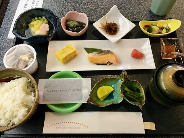 Notable were the  tamagoyaki , the grilled salmon, the soup (with more salmon), and the yummy thing on the top left that I can never remember its name).