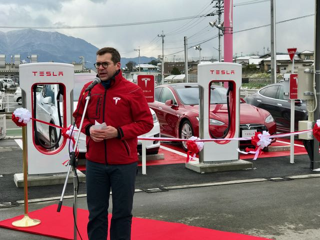 Mr. Villeger announces the opening of the newest Supercharger.
