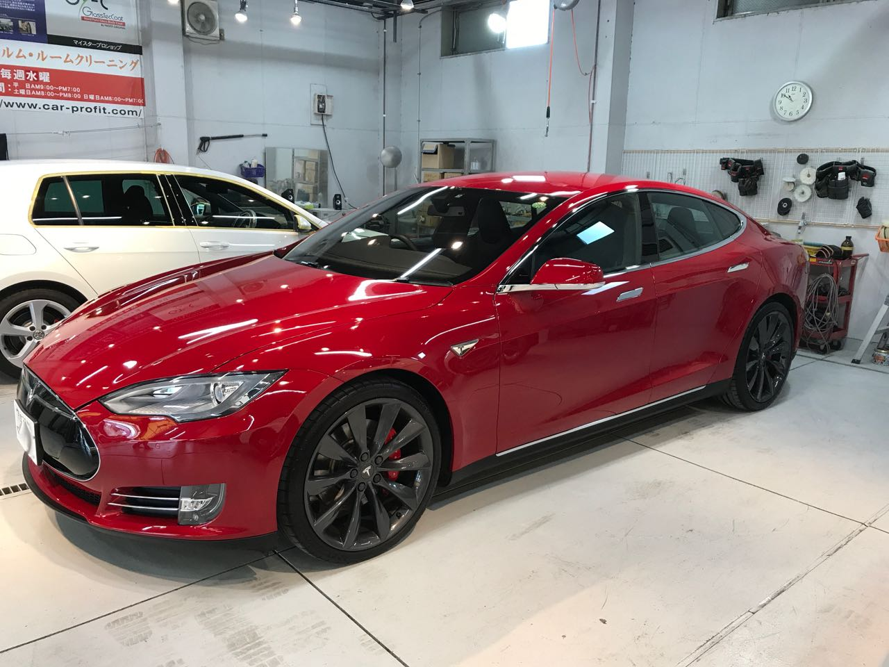 Two and a half year old Tesla Model S P85+ after a second set of three coats of Ceramic Pro 9H