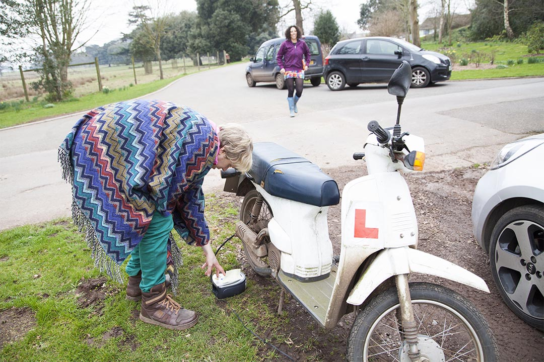 OH NO!  The moped for the final scene breaks down!