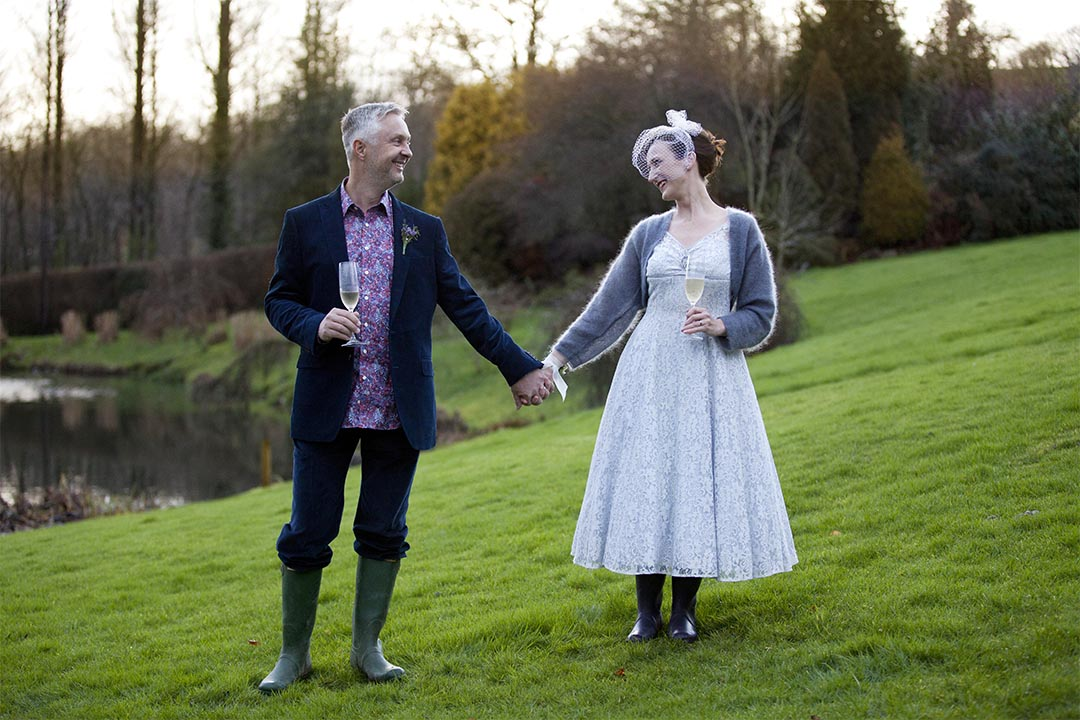 bride and groom Millbrook estate North Devon