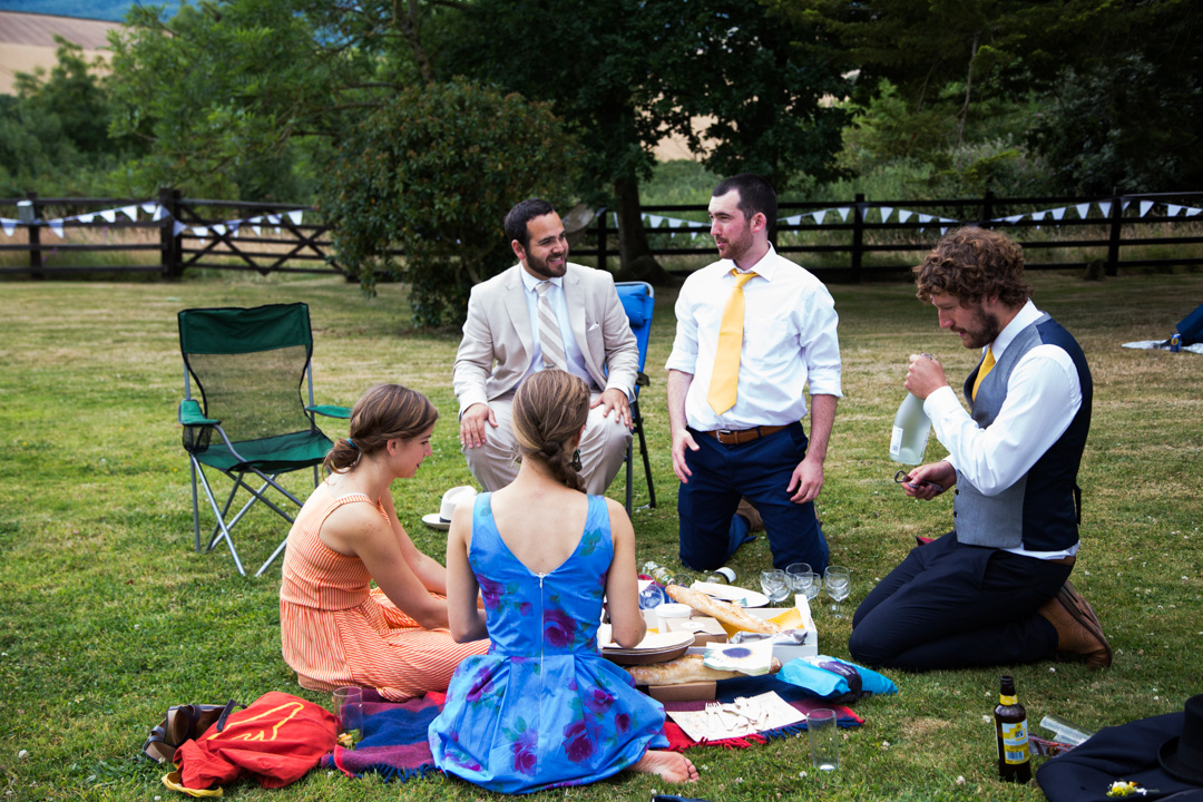 bright clothing at a wedding picnic