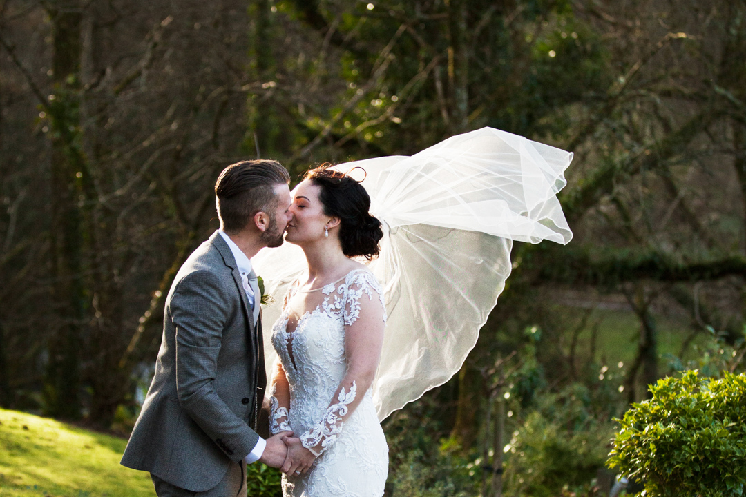 Millbrook Estate wedding veil in the wind