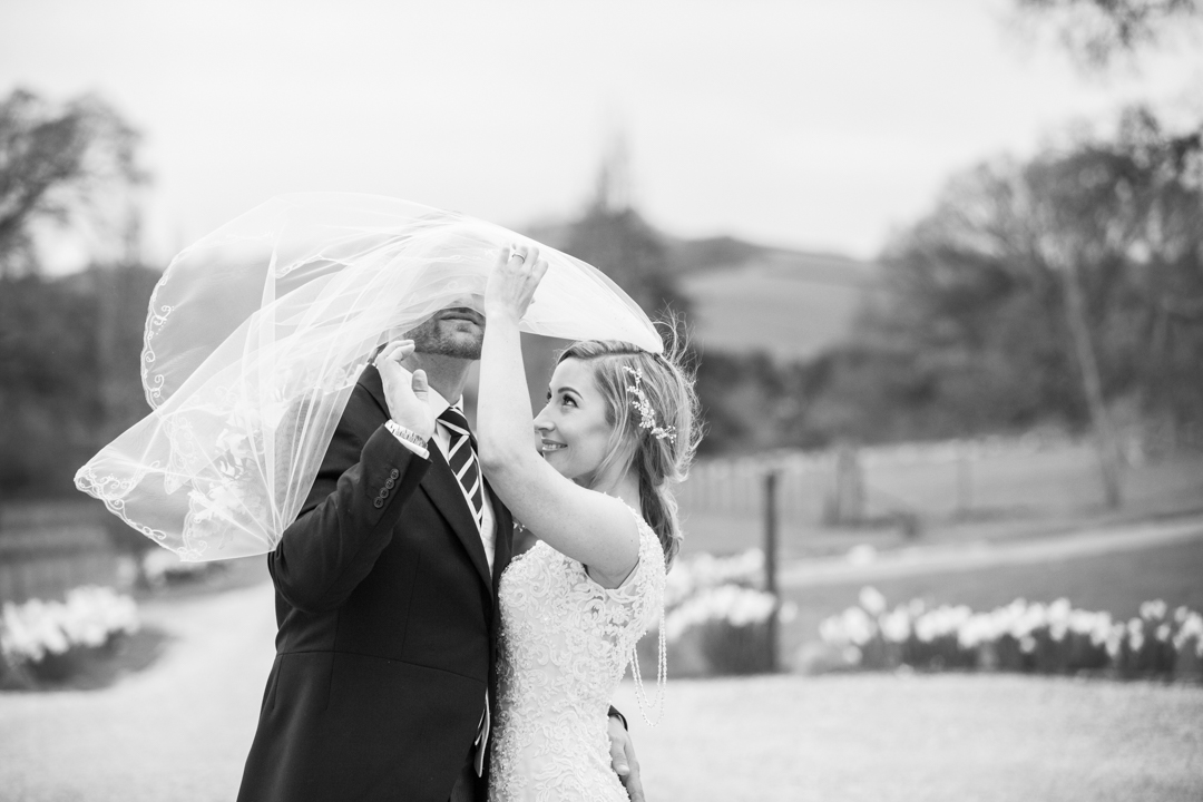 wedding veil in wind Pynes House