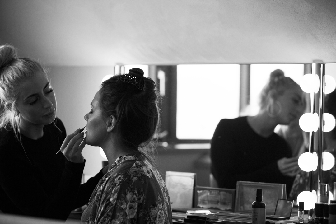 maek-up artist does bridal make-up at The Old Barn