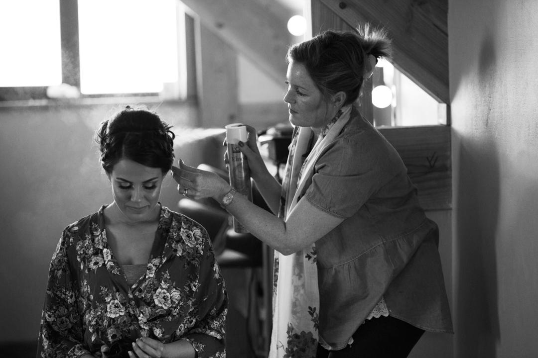 hairspray over bride
