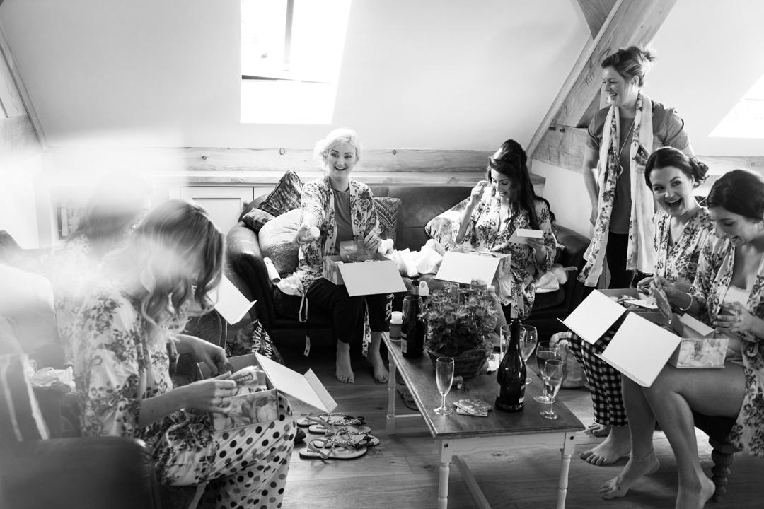 bridesmaids open presents, The Oak Barn