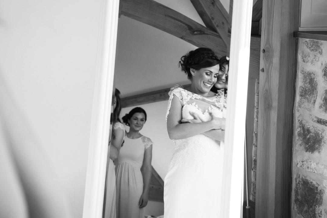 bride gets dressed The Oak Barn Hittisleigh