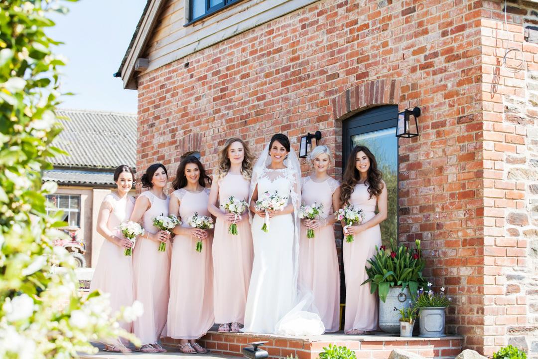 bride and bridesmaids, The Oak Barn Hittisleigh