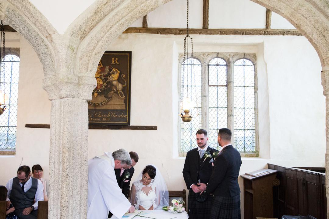 signing the register St. Andrews Church Hittisleigh