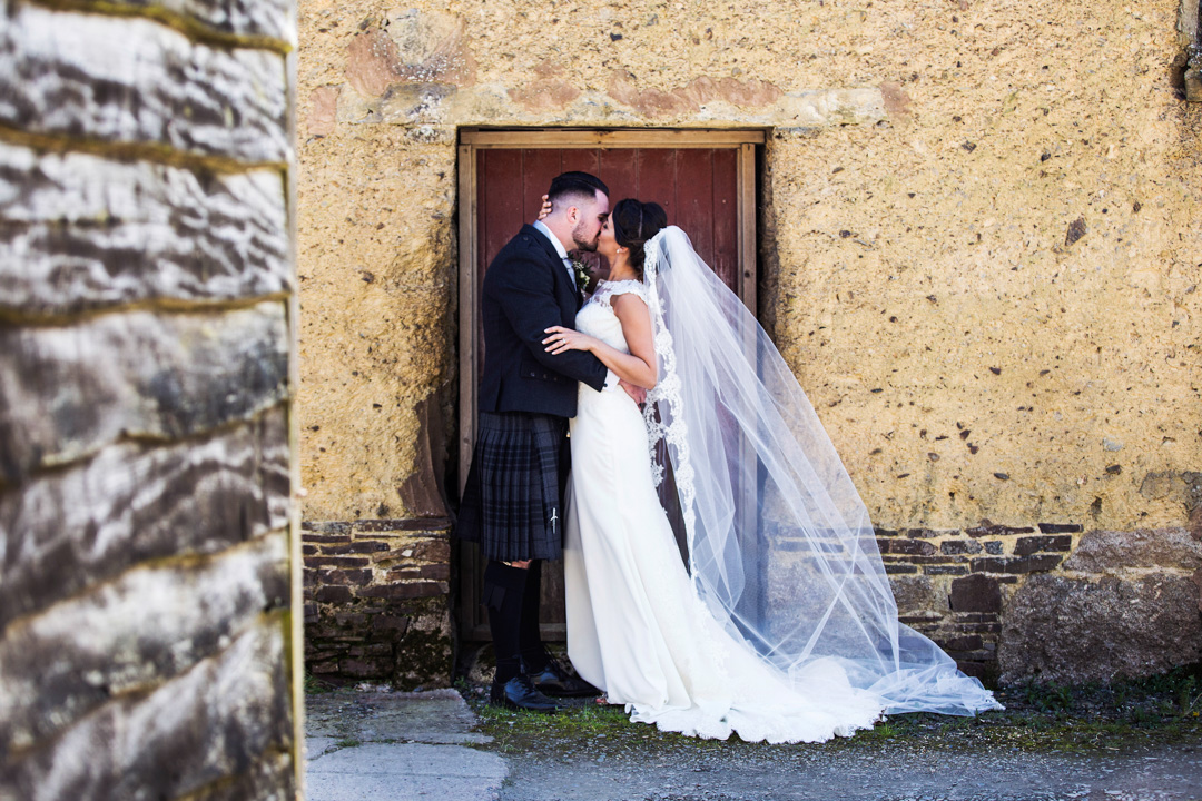 bride and groom The Oak Barn Hittisleigh
